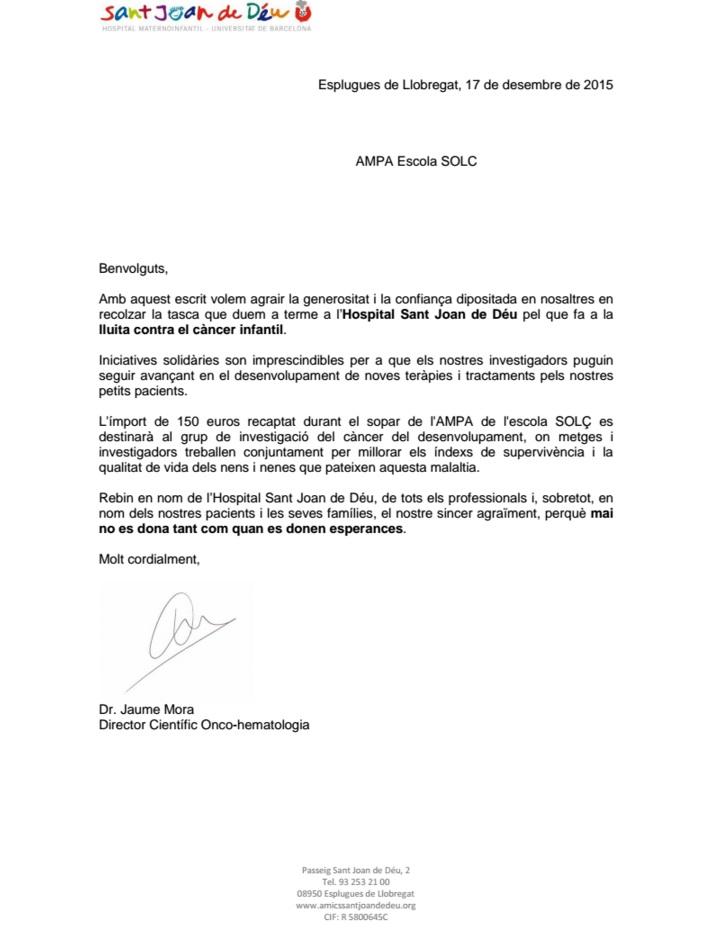 carta agraïment stjoandedeu